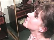 Muddy mouth brown-haired mom hand-job and inhale wanting sperm facial cumshot